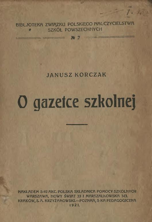 Korczak Janusz O gazetce szkolnej (okładka)