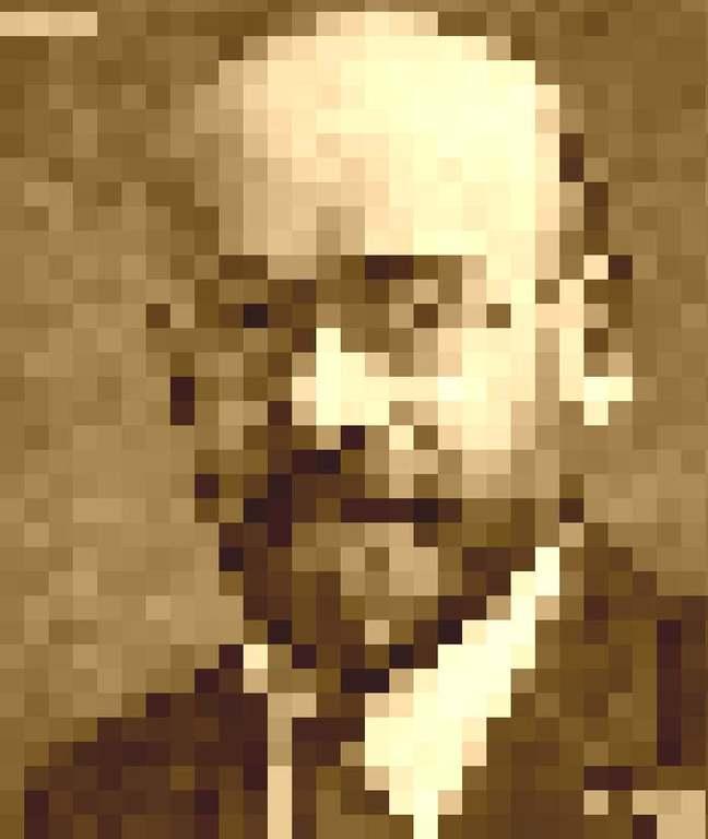 Korczak - portret (pikselowa grafika)