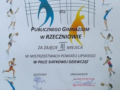 Zdjęcie dyplomu z zawodów w piłce siatkowej dziewcząt 2017 r.