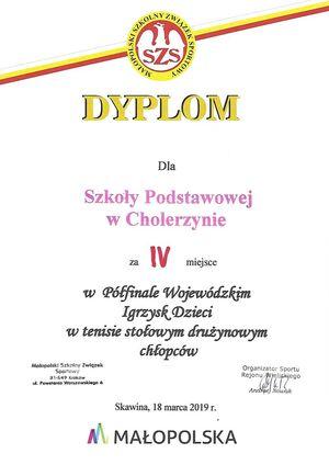 IV miejsce w półfnale Wojewódzkim Igrzysk Dzieci w Tenisie Stołowym