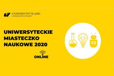 na żółtym tle logo Uniwersyteckiego Miasteczka Naukowego 2020