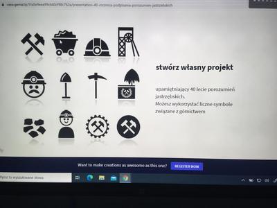 Slajd prezentacji zachęcający do wykonania własnego projektu 40 - lecia porozumień jastrzębskich, z wykorzystaniem różnych górniczych symboli