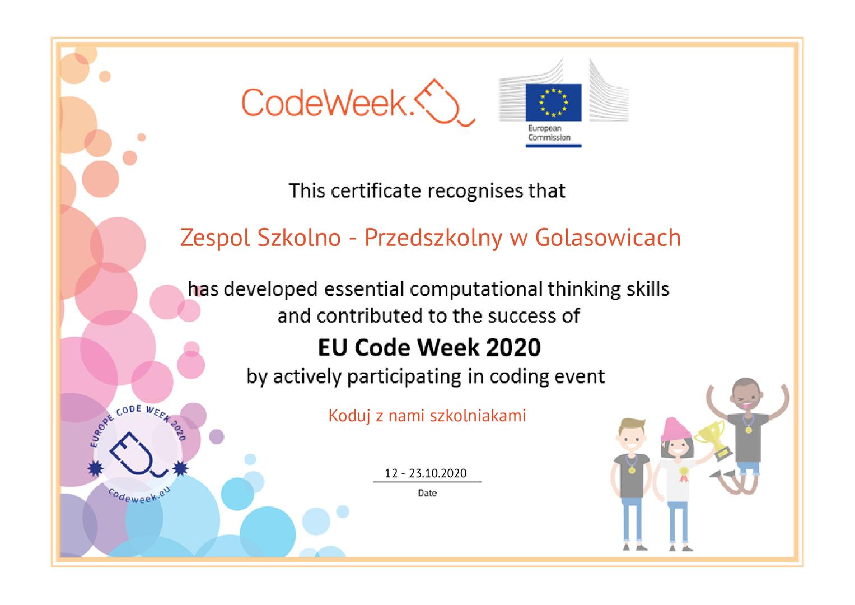 Certyfikat uczestnictwa dla Zespołu Szkolno - Przedszkolwnego w Golasowicach w Tygodniu Kodowania